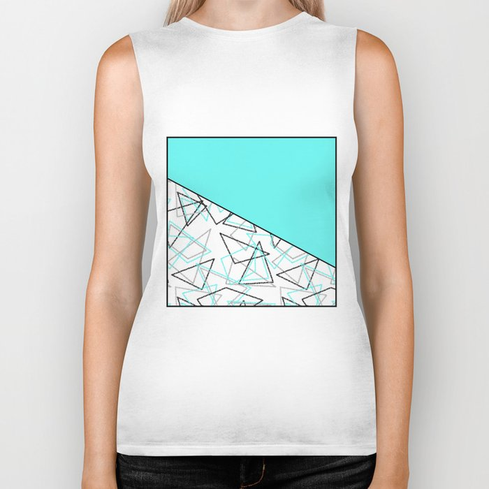 Abstract turquoise combo pattern . Biker Tank