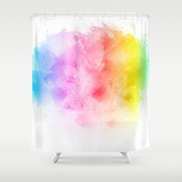 Rainbow abstract artistic watercolor splash background Shower Curtain