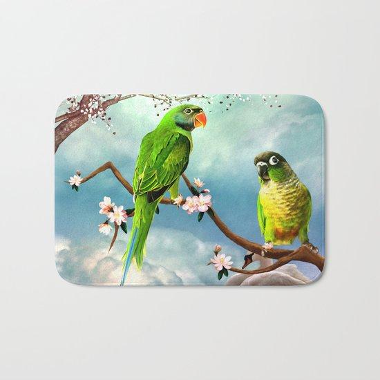Wonderful, cute parrots Bath Mat