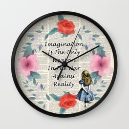 Floral Alice In Wonderland Quote on A Vintage Dictionary Page- Imagination Wall Clock