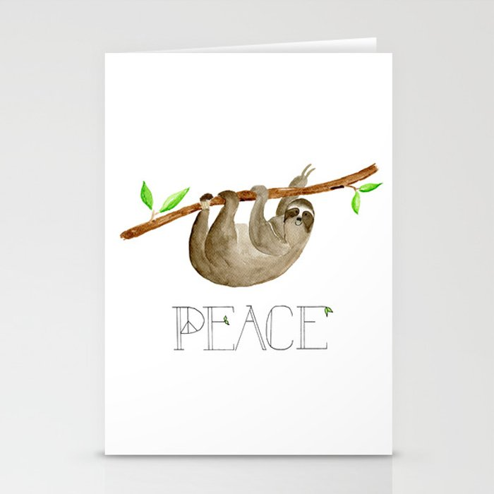 Peace Sloth Card Stationery Cards