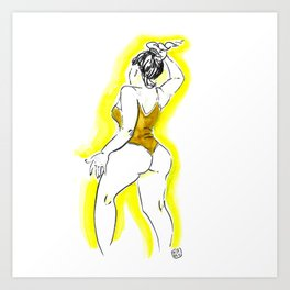 Girl yellow Art Print