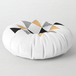 Aztec Graphic - Gold Gray Floor Pillow