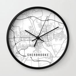 Sherbrooke Map, Canada - Black and White Wall Clock