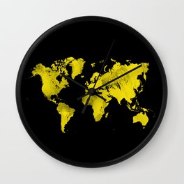 Yellow and black world map Wall Clock