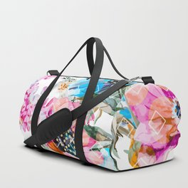 Flowers and rhombuses pattern Duffle Bag