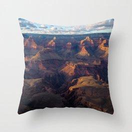 South Rim - Grand Canyon Illuminated in Evening Sunlight Throw Pillow