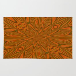Autumnal Leaves Red Green and Amber Abstract Kaleidoscope Rug
