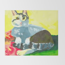 The Colourful Dream of a Cat Throw Blanket