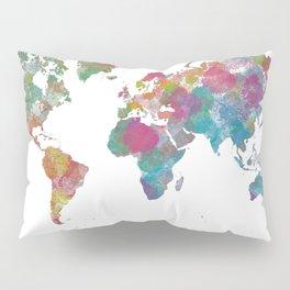 World Map - Watercolor 3 Pillow Sham