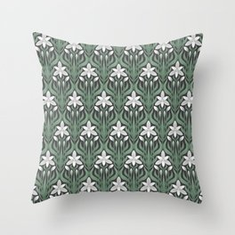 Seamless floral ornament in art Deco style. Ornithogalum umbellatum, the garden star-of-Bethlehem, grass lily, nap-at-noon, or eleven-o'clock lady. Throw Pillow