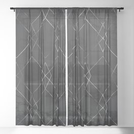 Silver Geometric Modern Pattern Trendy Black Marble III Sheer Curtain