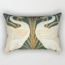 Walter Crane Swan, Rush And Iris Rectangular Pillow