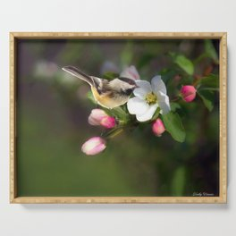 Apple Blossom and Chickadee Serving Tray