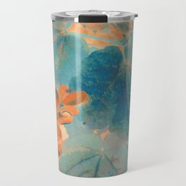Blue and Orange Autumn Leaves Travel Mug