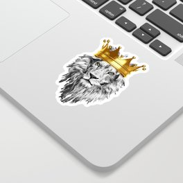 lion with a crown power king Sticker