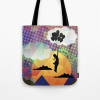 collage Tote Bags featuring collage by mark ashkenazi