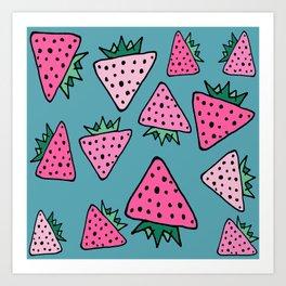 strawberry blue Art Print