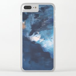 Ships in the Night: a vibrant abstract mixed-media piece in blues and golds by Alyssa Hamilton Art Clear iPhone Case