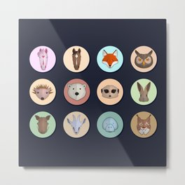Vector animals in circles Metal Print