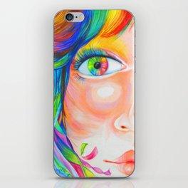 rainbow haired iPhone Skin