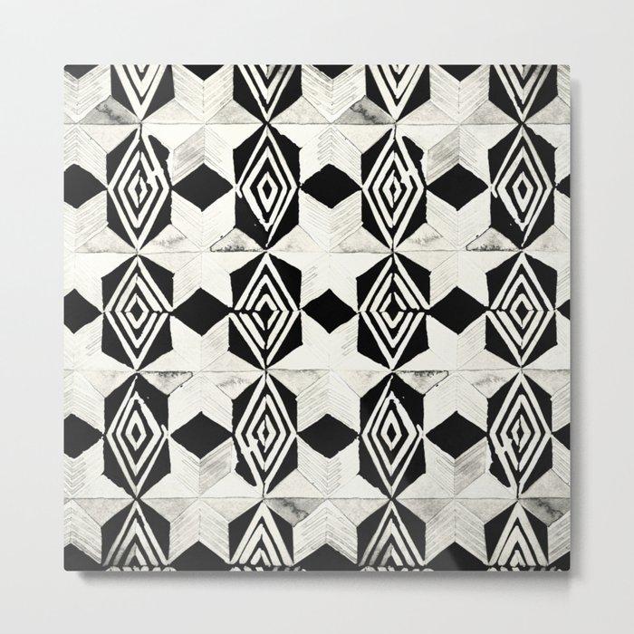 Tribal Shibori Stars Black and Cream Metal Print