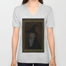 Dark Wizard portrait framed, black background Unisex V-Neck