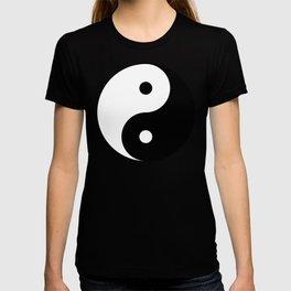 Yin and yang Symbol on red T-shirt