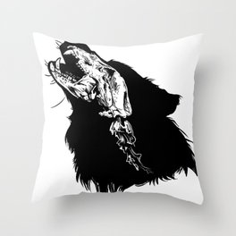 Wolf Skull Shadow Outline Outdoor Hunting Rustic Design Throw Pillow