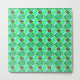 The illusion of bright light blue squares and triangles in green. Metal Print
