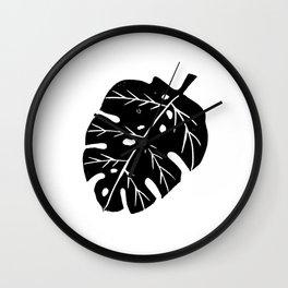 Monstera house plant linocut lino print art black and white minimal modern office dorm Wall Clock