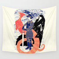 devil Wall Tapestries featuring The Knight, Death, & the Devil by Andrew Henry