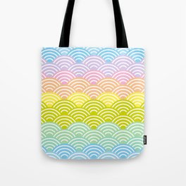Seigaiha or seigainami literally means blue wave of the sea. rainbow pattern abstract scale Tote Bag