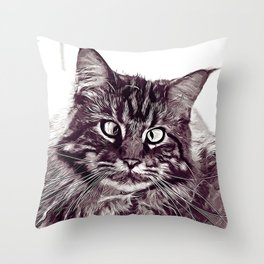 squinting maine coon cat vector art white Throw Pillow