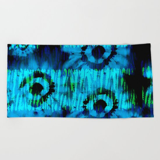 Blue and Green Tie Dye Beach Towel