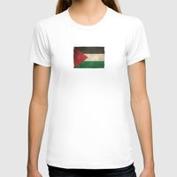 palestine T-shirts featuring Old and Worn Distressed Vintage Flag of Palestine by Jeff Bartels