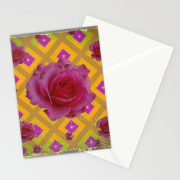 GRUNGY ANTIQUE PINK ROSE PATTERN Stationery Cards