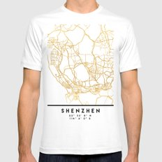 SHENZHEN CHINA CITY STREET MAP ART Mens Fitted Tee White MEDIUM