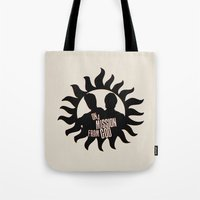 winchester Tote Bags featuring Winchester Brothers by MadTee