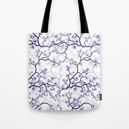 Abstract navy blue gray lavender floral illustration Tote Bag