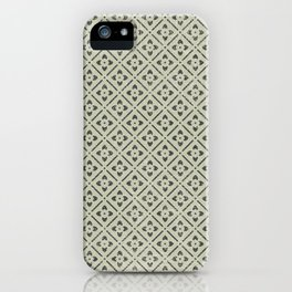 Vintage chic green black geometrical floral pattern iPhone Case