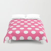 minnie mouse Duvet Covers featuring Minnie Mouse Dots | Pink by DisPrints