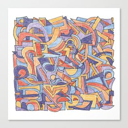 Party in Orange and Blue Canvas Print