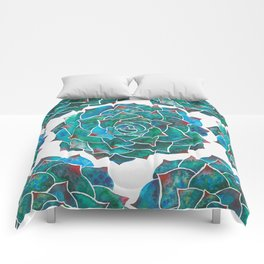 Watercolor rosette succulent Comforters