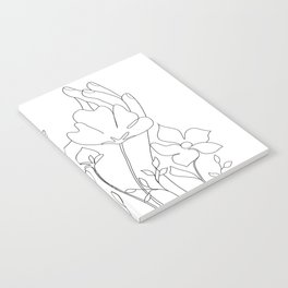 Minimal Line Art Summer Bouquet Notebook