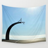 basketball Wall Tapestries featuring Basketball Plateau  by RichCaspian