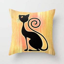 Black Cat Vintage Style Design Throw Pillow