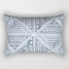 Simply Tribal Tile in Indigo Blue on Sky Blue Rectangular Pillow