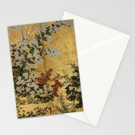 White Red Chrysanthemums Floral Japanese Gold Screen Stationery Cards