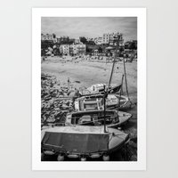 Boats at the Sea - Black and White Art Print